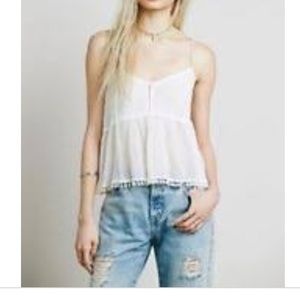 Free People Tops - FP White Sheer Gauze Cami Tank Top With Pom-Poms